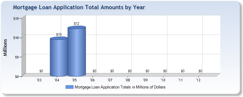 Mortgage application total amounts by year from Directors Mortgage Company of Hurst, TX